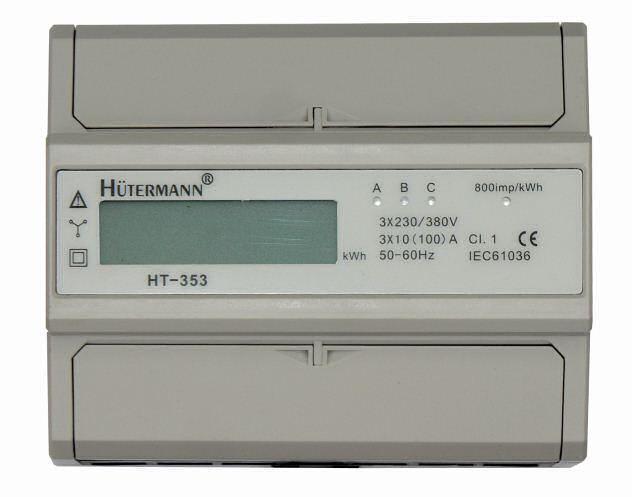 Elektroměr na DIN lištu třífázový digitální měřič spotřeby wattmetr Hutermann HT-353D