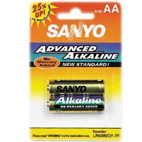 Baterie alkalická tužková AA Sanyo LR6/2B 2ks