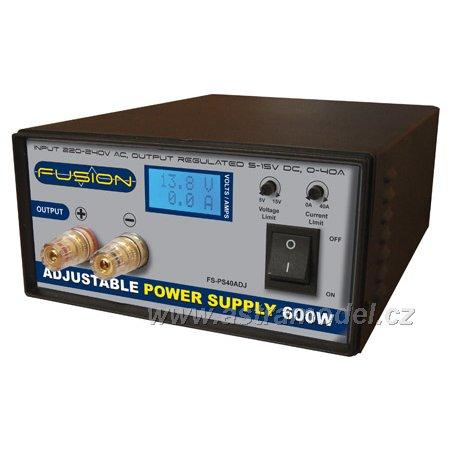 Fusion regulovatelný zdroj 600W 230V/5-15V 0-40A FO-FS-PS600ADJE