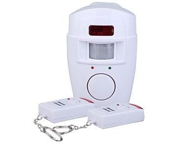 Alarm s pohybovým čidlem PIR s bezdrátovým přenosem + 2ks dálkové ovládání Wall-Alarm