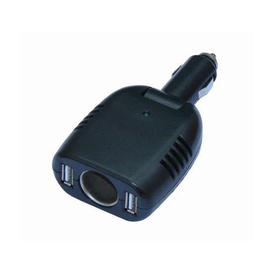 Autonabíječka do zapalovače 12V / 2x USB průchozí redukce adaptér napaječ HCU-100