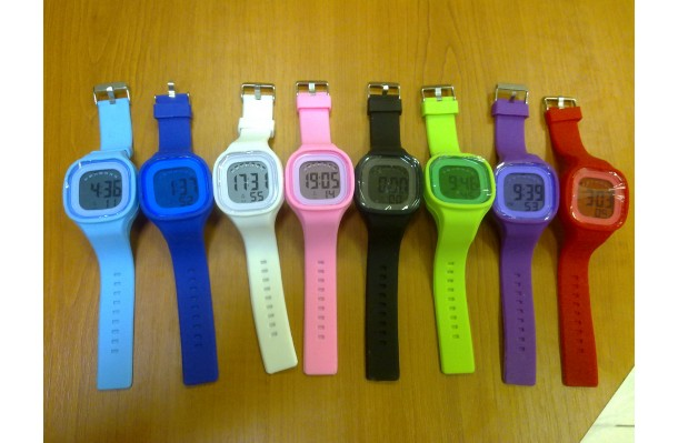 Silikonové hodinky digitální hranaté červené JELLY-DIGIW