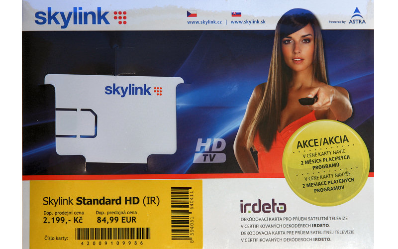 Skylink karta IR Standard HD (+2 měsíce předplatné)