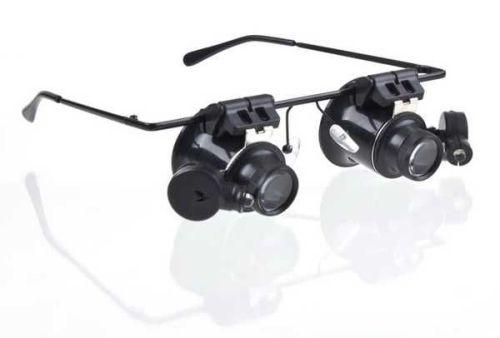 Binokularní lupa, zvětšovací brýle mikroskop 20x s osvětlením