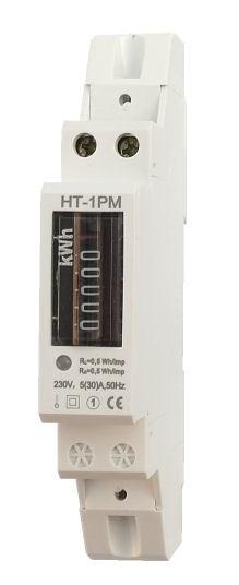 Elektroměr na DIN lištu jednofázový mechanický měřič spotřeby wattmetr Hutermann HT-1PM